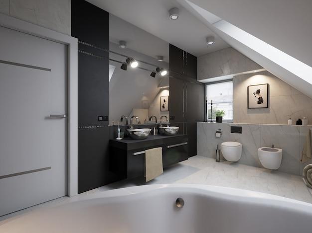 洗面台、トイレ付きのモダンなバスルームのインテリア Premium写真