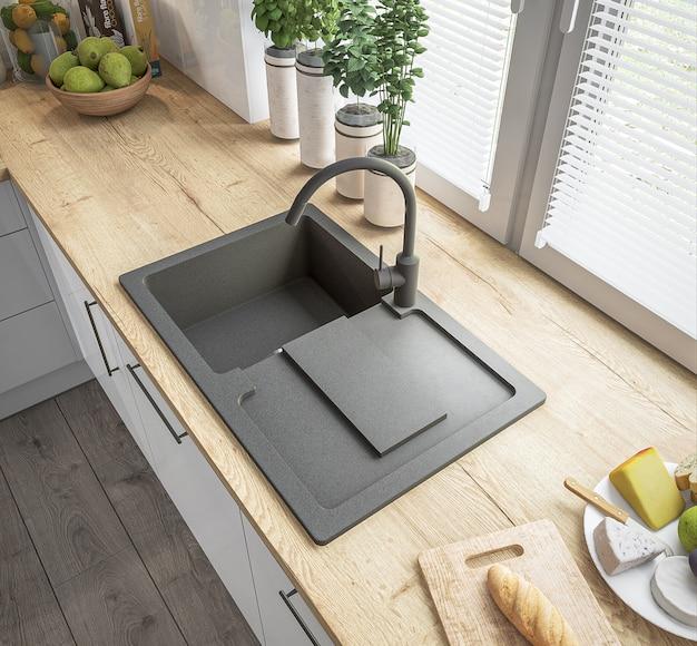新しいスタイリッシュなキッチン Premium写真