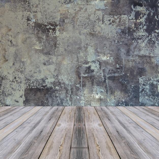 グレーの壁と木の床の背景と室内インテリアのヴィンテージ 無料写真