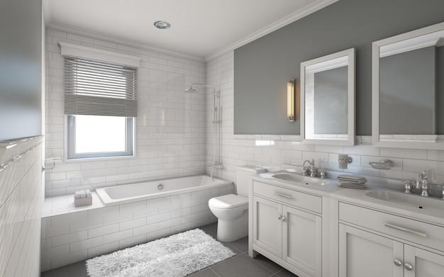 カントリーハウスの白いバスルーム Premium写真