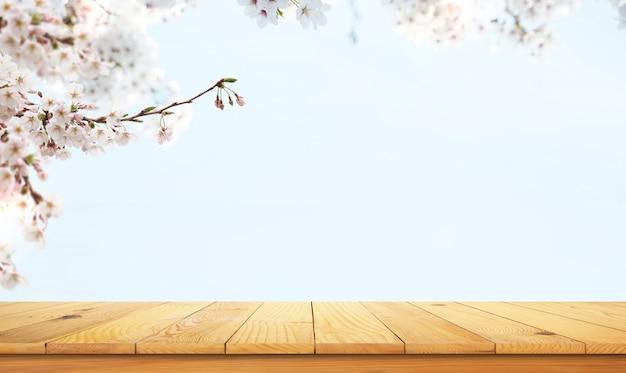 自然の風景と木製のテーブル Premium写真