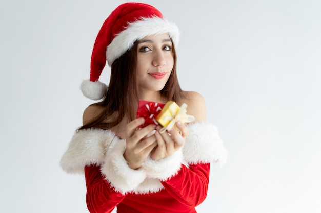サンタクロース、幸せ、女の子、肖像画、ギフトボックス 無料写真