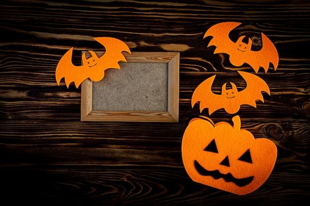 Хэллоуин фон с летучими мышами, тыквы. хэллоуин праздник фон. Premium Фотографии
