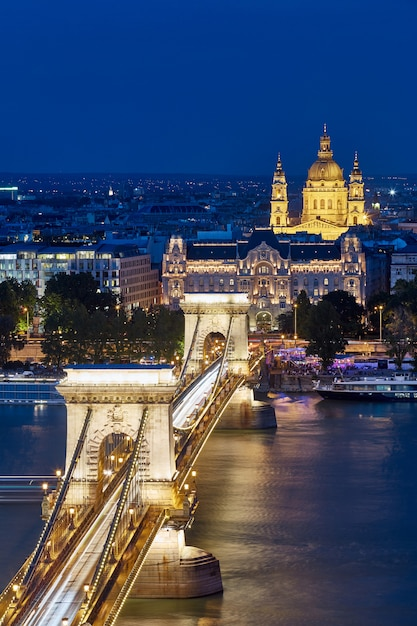 Знаменитый цепной мост ночью в будапеште Premium Фотографии