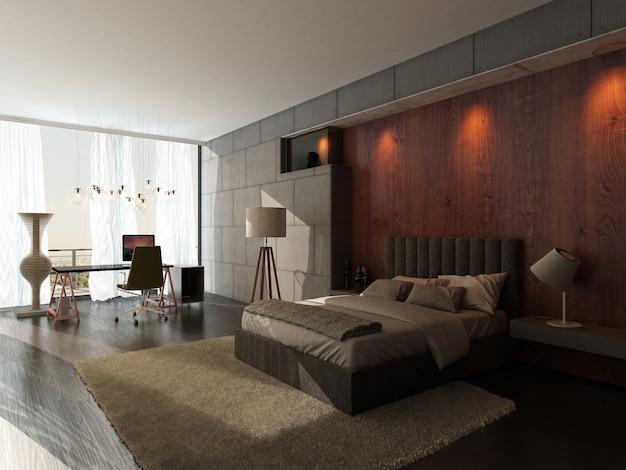 モダンなデザインのベッドルームのインテリア Premium写真