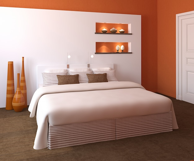 モダンなベッドルームのインテリア Premium写真