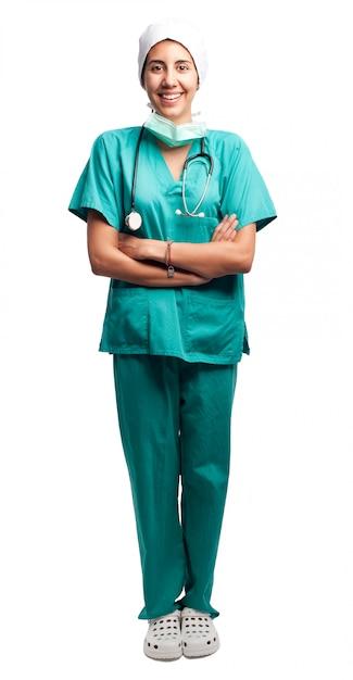 Портрет хирурга на белом фоне Premium Фотографии