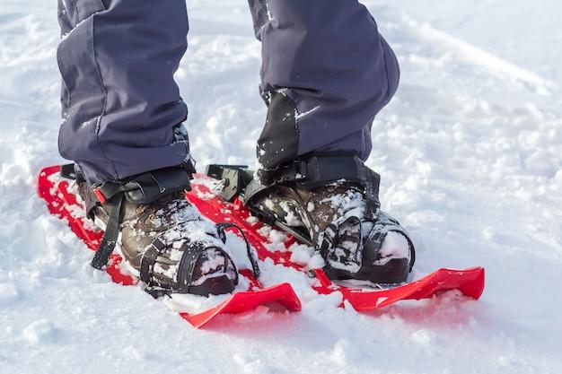 Конец-вверх ног лыжника человека и ног вкратце пластичных ярких профессиональных широких лыж на белом снеге солнечном. активный образ жизни, зимние экстремальные виды спорта и отдыха. Premium Фотографии