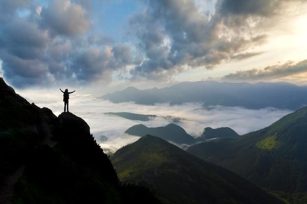 広い山のパノラマ。ロッキーマウンテンのバックパックで観光客の小さなシルエット。 Premium写真