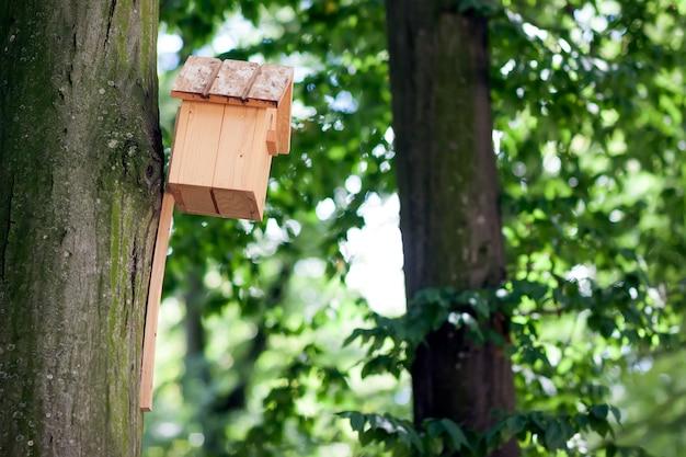 木製の黄色の鳥の家または夏の公園や森の木にネストボックス。 Premium写真