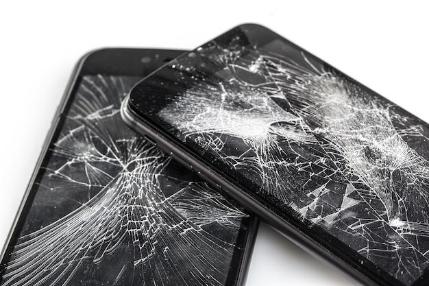 壊れた画面の携帯電話 Premium写真