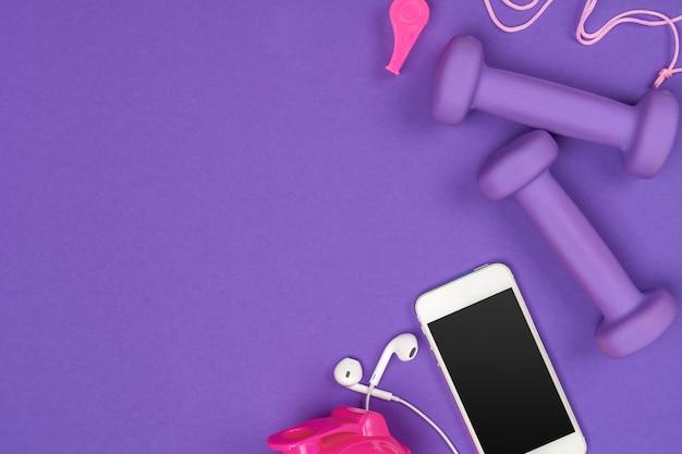 紫のフィットネスアクセサリー Premium写真