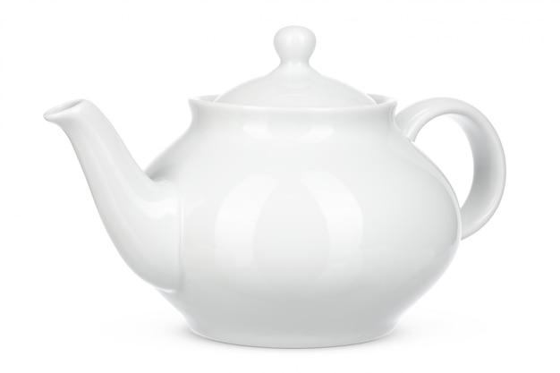 Белый керамический чайник изолировать на белом фоне Premium Фотографии