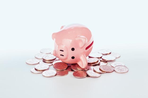 ピンクの貯金と白で隔離のコイン Premium写真