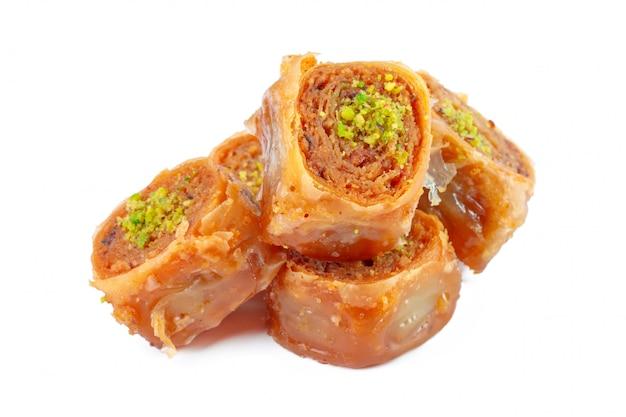 Турецкий рамадан десерт пахлава изолированы Premium Фотографии