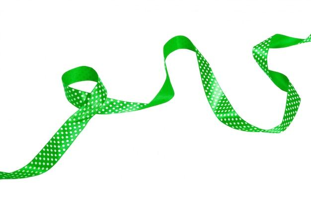 Зеленая лента лук на белом фоне Premium Фотографии