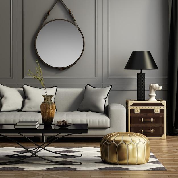 ソファと装飾のあるモダンなリビングルーム Premium写真