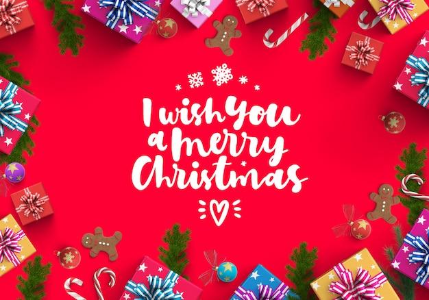 メリークリスマスとギフトボックスの背景 Premium写真