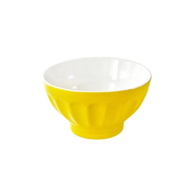 白いクリッピングパスに分離された黄色のセラミックボウル Premium写真