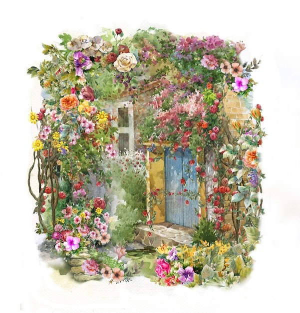 抽象的なカラフルな花の水彩画。 Premium写真