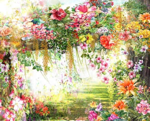 抽象的な花の水彩画。 Premium写真