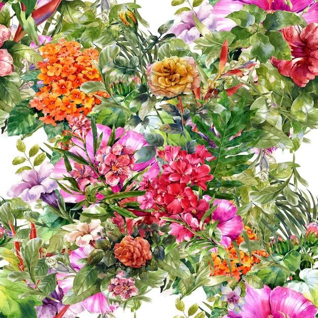 葉と花のシームレスパターンの水彩画 Premium写真