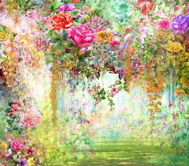抽象的な花の水彩画。春の色とりどりの花 Premium写真