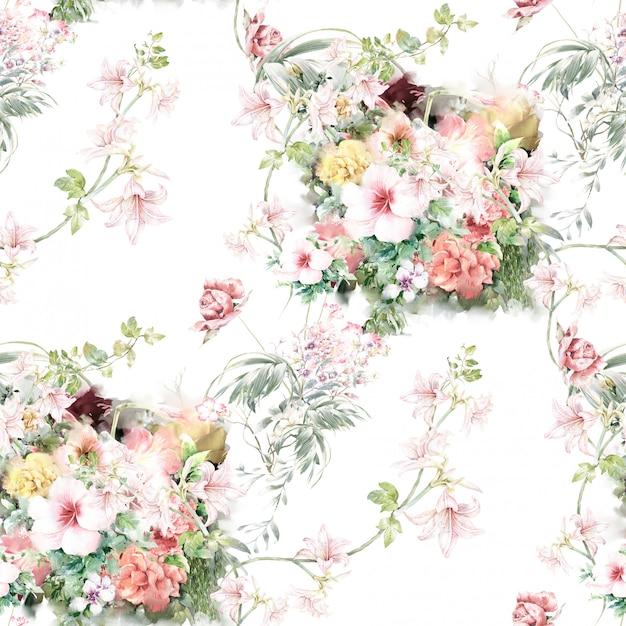 葉と花、白い背景の上のシームレスなパターンの水彩イラスト Premium写真