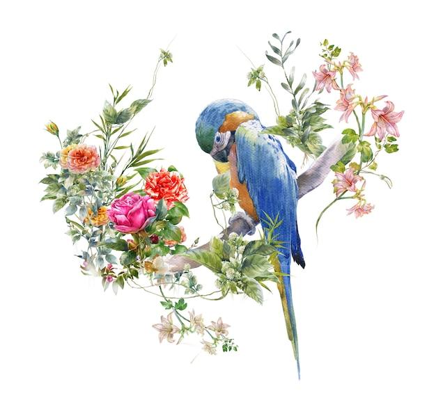 鳥と花、白の水彩画 Premium写真