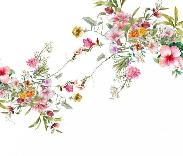 葉と花、白の水彩画 Premium写真
