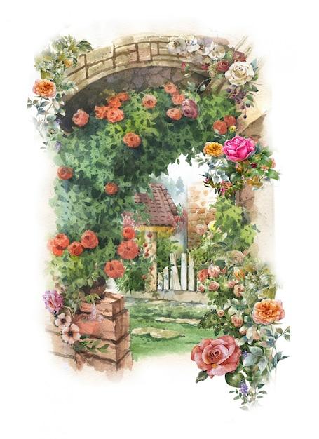 Абстрактная красочная цветочная акварельная живопись Premium Фотографии