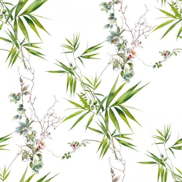 葉と花、白い背景の上のシームレスなパターンの水彩画 Premium写真