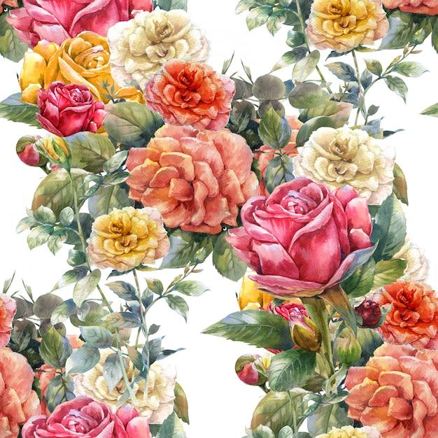 花、ローズ、白のシームレスパターンの水彩画 Premium写真