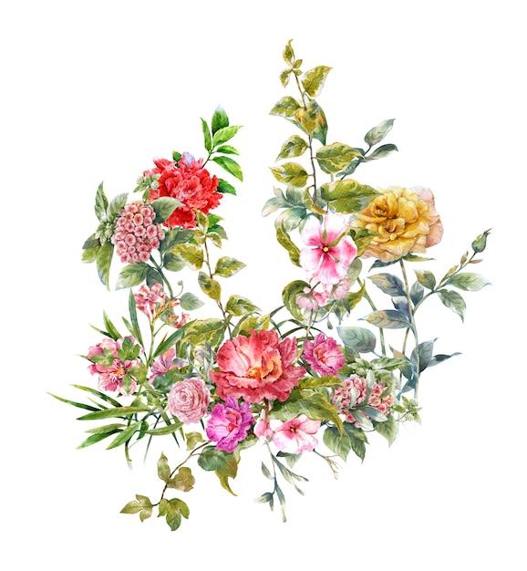 花の水彩画 Premium写真