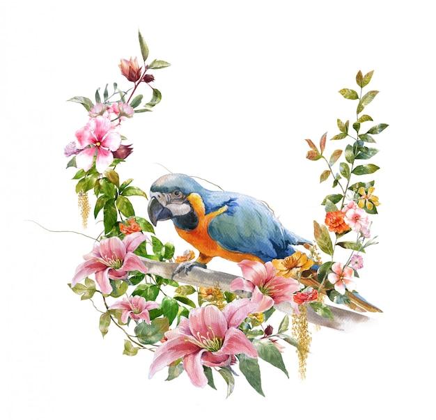 鳥と花の水彩画 Premium写真