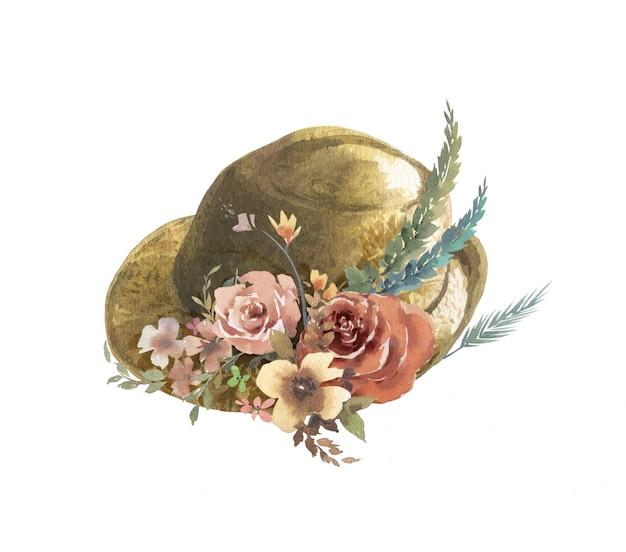 葉と帽子と花の水彩画 Premium写真