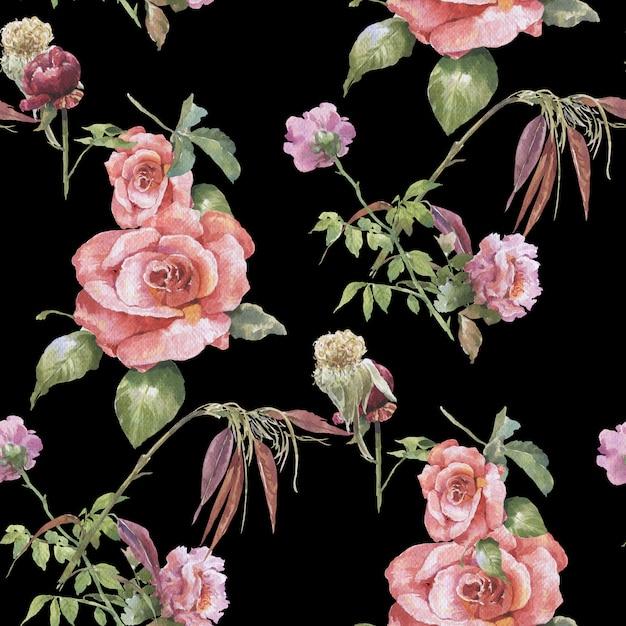 葉と花、シームレスなパターンの水彩画 Premium写真