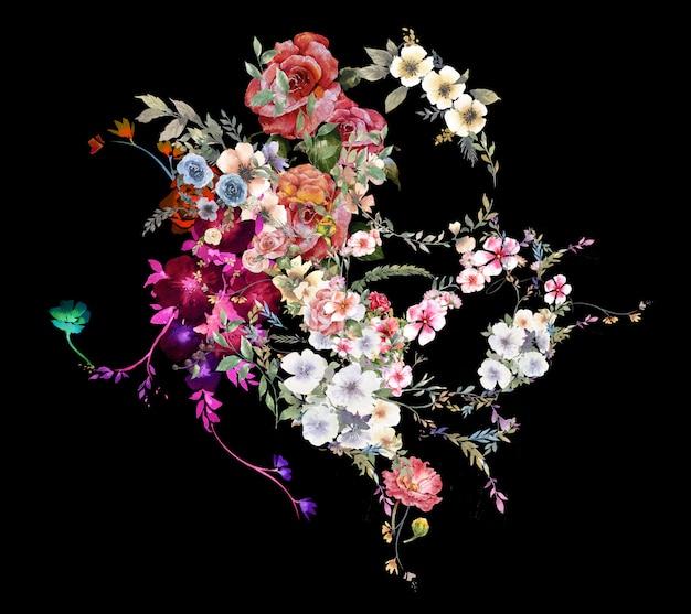 葉と花の水彩画 Premium写真