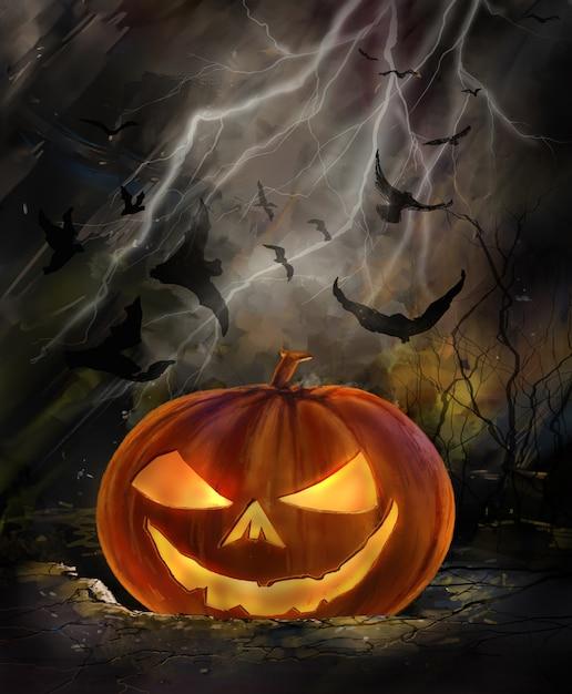 Хэллоуин иллюстрация жуткой тыквы с летучими мышами Premium Фотографии