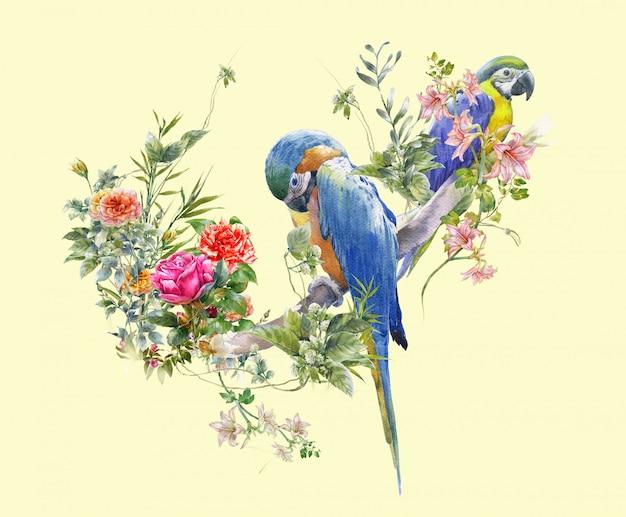 鳥と花、クリームの水彩画 Premium写真