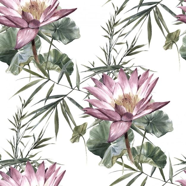 葉と花、白のシームレスパターンの水彩画 Premium写真