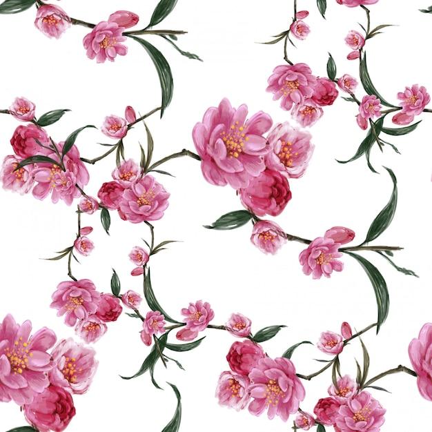 葉と花、白のシームレスなパターンの水彩画 Premium写真