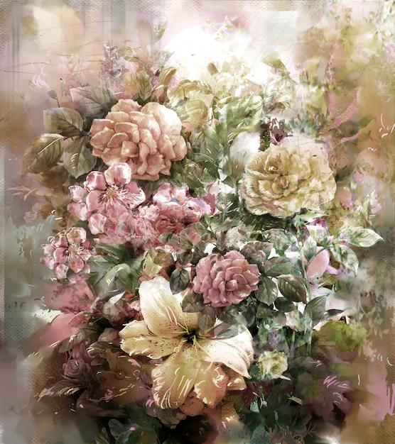 色とりどりの花の水彩画スタイルの花束 Premium写真