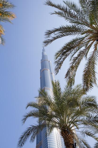 Башня бурдж халифа исчезает в голубом небе Premium Фотографии