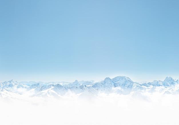 雪で冬の山のパノラマ。デザインのスペースの背景をコピーします Premium写真