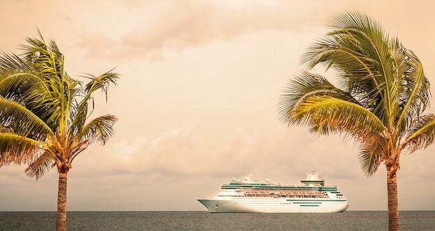 ロイヤルカリビアンの船は、バハマ港で帆走 Premium写真