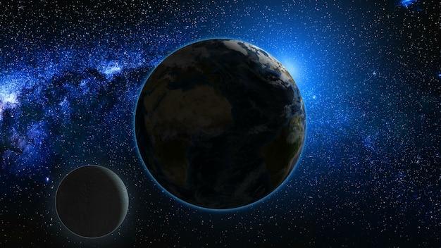 Восход солнца вид из космоса на планете земля и луна Premium Фотографии