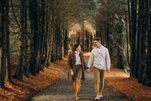 Мода пара вместе гулять в парке Бесплатные Фотографии