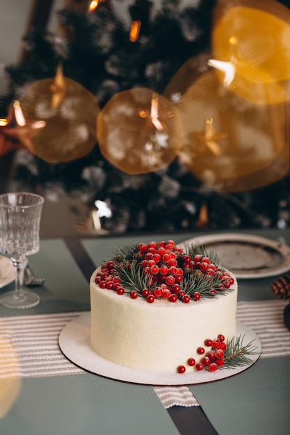 赤い果実で飾られたクリスマスケーキ 無料写真