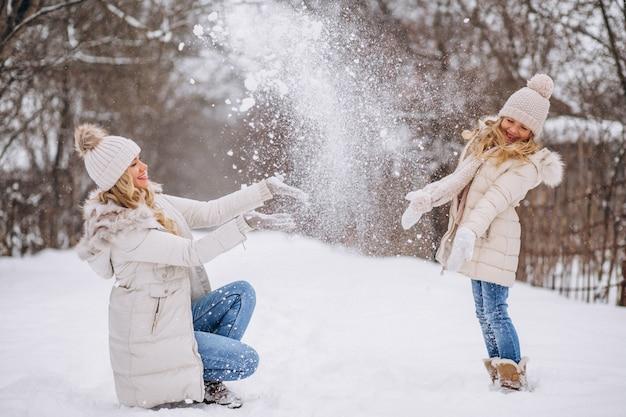 冬の公園で一緒に歩いている娘を持つ母 無料写真